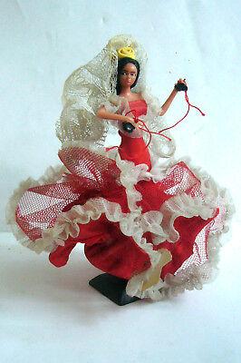 vintage Spanische Flamenco Tänzerin Deko Figur Puppe rotes Tüllkleid