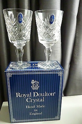 Pair of vintage ROYAL DOULTON Cleveland hand Cut Lead Crystal Wine Glasses-Boxed