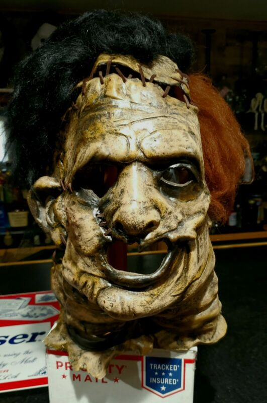 Leatherface Mask w/free teeth, apron & arm gauntlets -not Freddy Jason pennywise