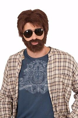 VEGAS HERO WIG KIT BROWN THE HANGOVER COMICAL ADULT HALLOWEEN COSTUME ACCESSORY (The Hangover Halloween Costumes)