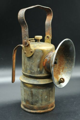 Antique Vtg Justrite Brass Carbide Coal Mining Lantern Hanging Miners Lamp Torch
