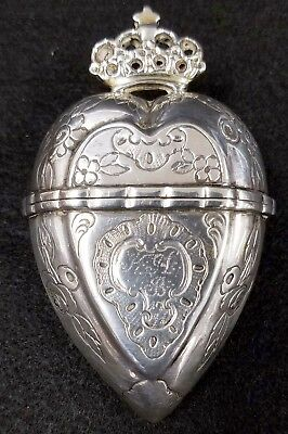 Antique Sterling Silver Scandinavian Crowned Heart Marriage -