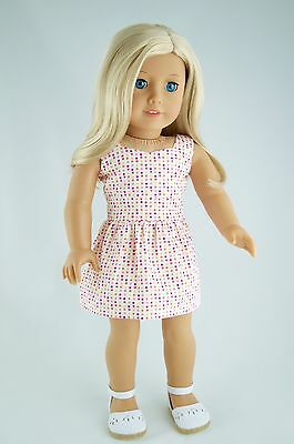 Summer Dress White/Multi American Made Doll Clothes For 18 Inch Girl Dolls