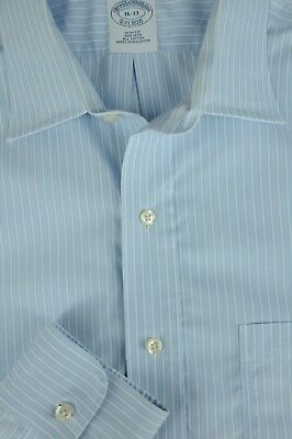 Brooks Bothers 1818 Men's Sky Blue & White Striped Cotton Dress Shirt 16 x 33