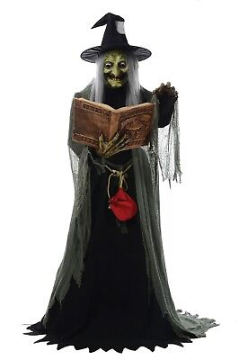 LIFESIZE ANIMATED SPELL SPEAKING WITCH HALLOWEEN PROP FIGURE -HOLDING SPELL BOOK (Life Size Animated Halloween Figures)