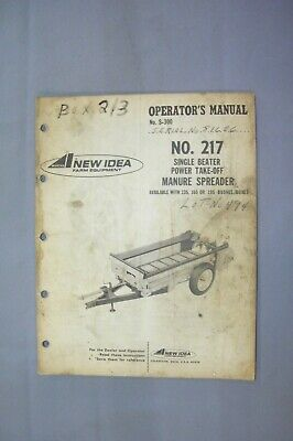 New Idea No. 217 Manure Spreader Operators Manual