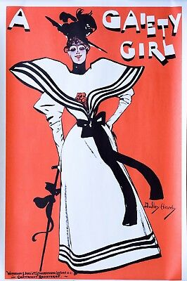 """AP146 Vintage /""""A Gaiety Girl/"""" Dudley Hardy Theatre Advertisement Poster Card A5"""