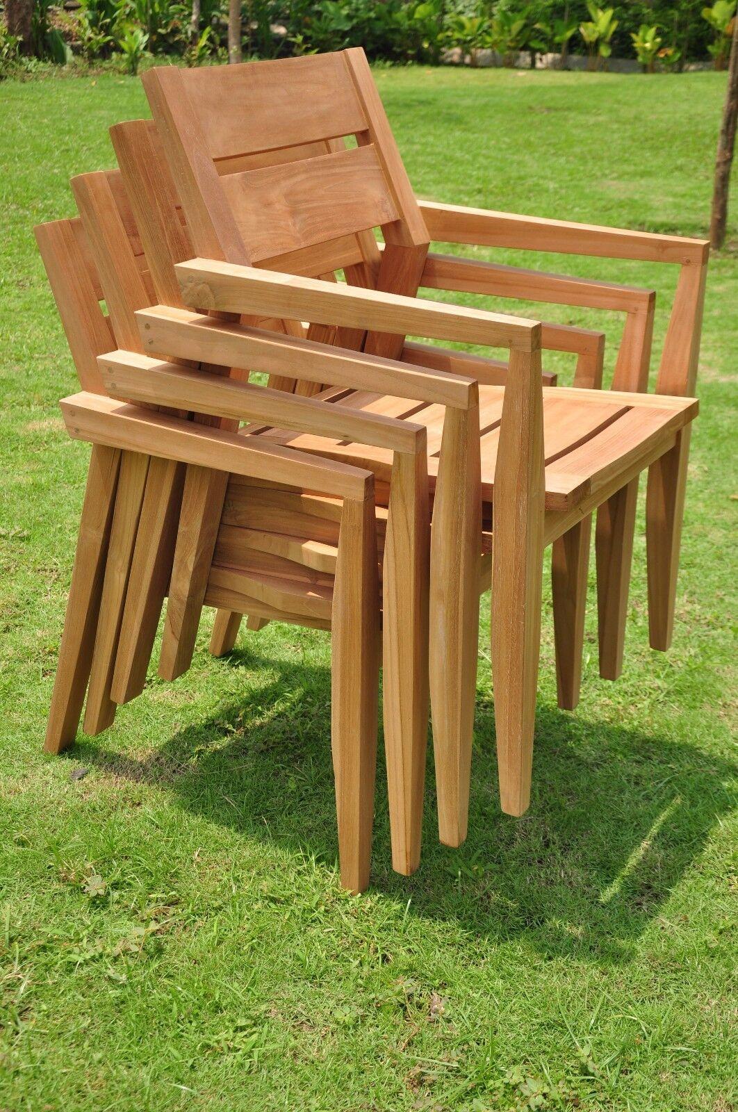 5 pc outdoor dining teak set 48 butterfly folding table for Outdoor teak dining table