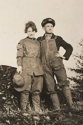 Vintage 1920's RPPC Young Couple Hiking Outfits Man Lady Photo PC](1920 Outfits For Men)