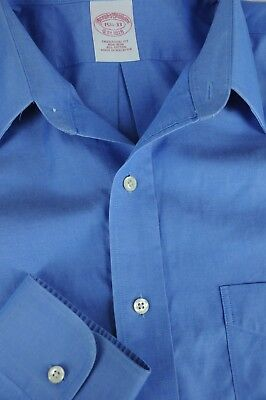 Brooks Bothers 1818 Men's Blue Pinpoint Cotton Dress Shirt 15.5 x 33