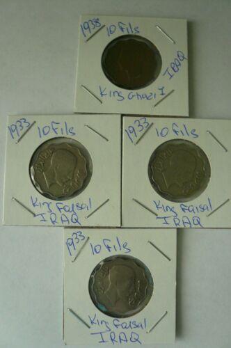 IRAQ 1933 & 1938 10 FILS  COINS KING FAISAL & GHAZI  3 1933 coins & 1 1938