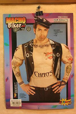 Kostüm Macho Biker Muskel-Tattoo Shirt und seperater West u.Mütze (Biker Tattoos Kostüm)