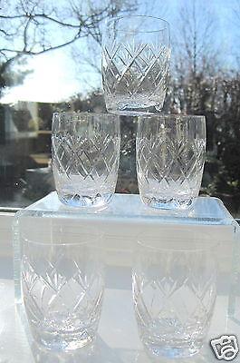 Stourbridge Glass 5 Whisky Tumblers With Open Cross Cutting Barrel Glass x 5