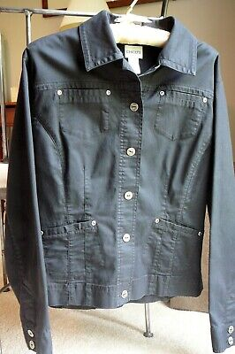 Black Chico's Sz 1 Small to Medium (8 - 10) Cotton Twill Jeans Jacket Stretch