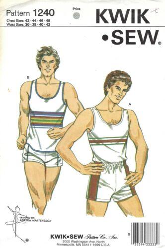 Kwik Sew 1240 Retro 80s Jogging Suit, Tank Top & Shorts Sz 36-42 Waist UNCUT