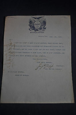 Tennessee State Guard (1890 *RARE* 3rd Regiment National Guard State of Tennessee Letterhead)