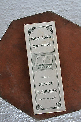 Vintage Book Brand Best Cord 200 Yards Sewing Thread Ad Litho Paper Box,