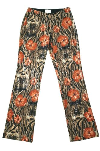 VTG Cache Womens Brown Tiger Orange Floral Shiny Palazzo Pants Size 12 Stretchy