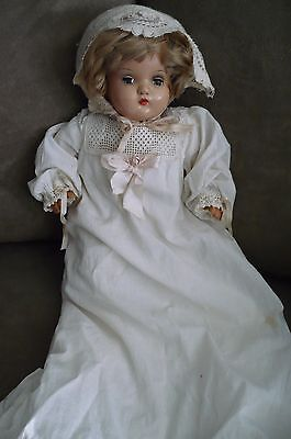 Antique Horsman doll, Composition Head 16 in., Cloth Body, Christening dress
