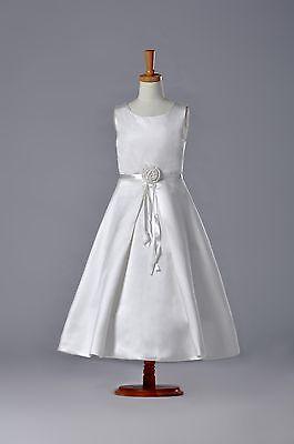 G118 White First Communion Dresses New Satin Girl Dress](Girl First Communion Dresses)