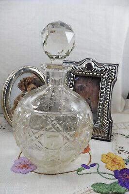 Antique Edwardian Heavy Lead Crystal Hobnail Pattern Perfume Bottle