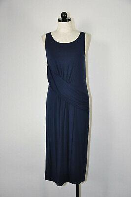 Fabletics Navy Blue Stretch Jersey Scoop Neck Draped Long Midi Dress Women M
