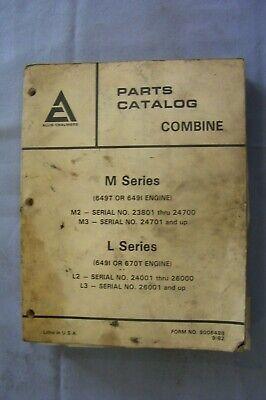 Allis-chalmers M L Series Combine Parts Catalog Manual 1982