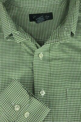 Brooks Brothers Men's Fern Green & White Checker Casual Cotton Shirt L Large