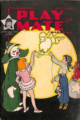 Story Circus Animals - 1950 Children's Play Mate Playmate Magazine May Stories Circus Animals Clown