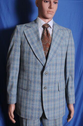 VTG 70s Palm Beach windowpane plaid blue 2 button wide lapel suit 38 35X30