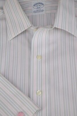 Brooks Brothers 346 Men's White Gray Blue & Pink Slim Cotton Dress Shirt 16 x 34