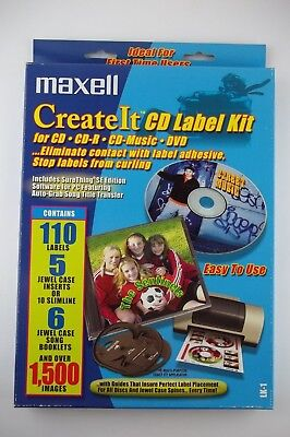 Maxell Create It Cd Dvd Label Kit 110 Labels Applicator Software With Images