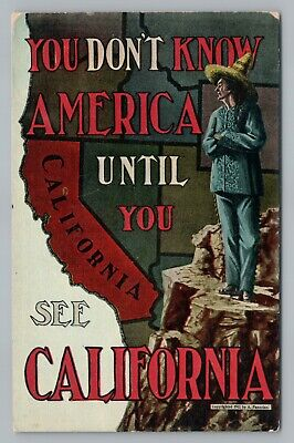 """Don't Know America Until CALIFORNIA"" Antique Frontier Map Poster-Art (Know Style Usa)"