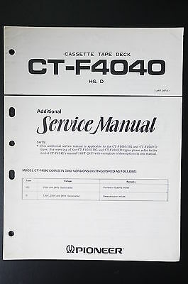PIONEER CT-F4040 Original Additional Service-Manual/Anleitung/Schaltplan! o21