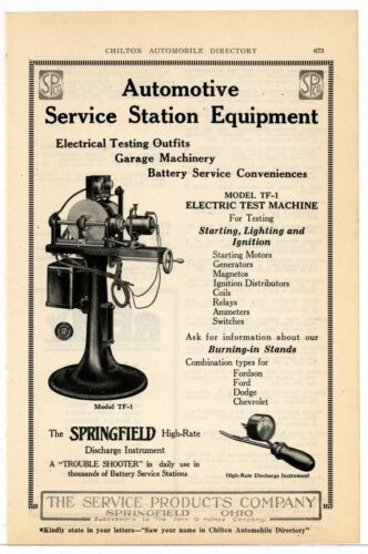 1920 Service Products Co. Ad: Garage Electrical Equipment - Springfield, OhiO