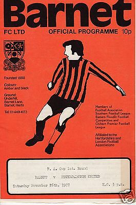 BARNET V PETERBOROUGH UTD  FA CUP 26/11/77