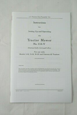 Ih International Mcormick No 112-v Sickle Mower Manual I-12 O-12 W-12 Fairway-12
