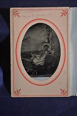 Tintype of Toddler in Wicker Stroller