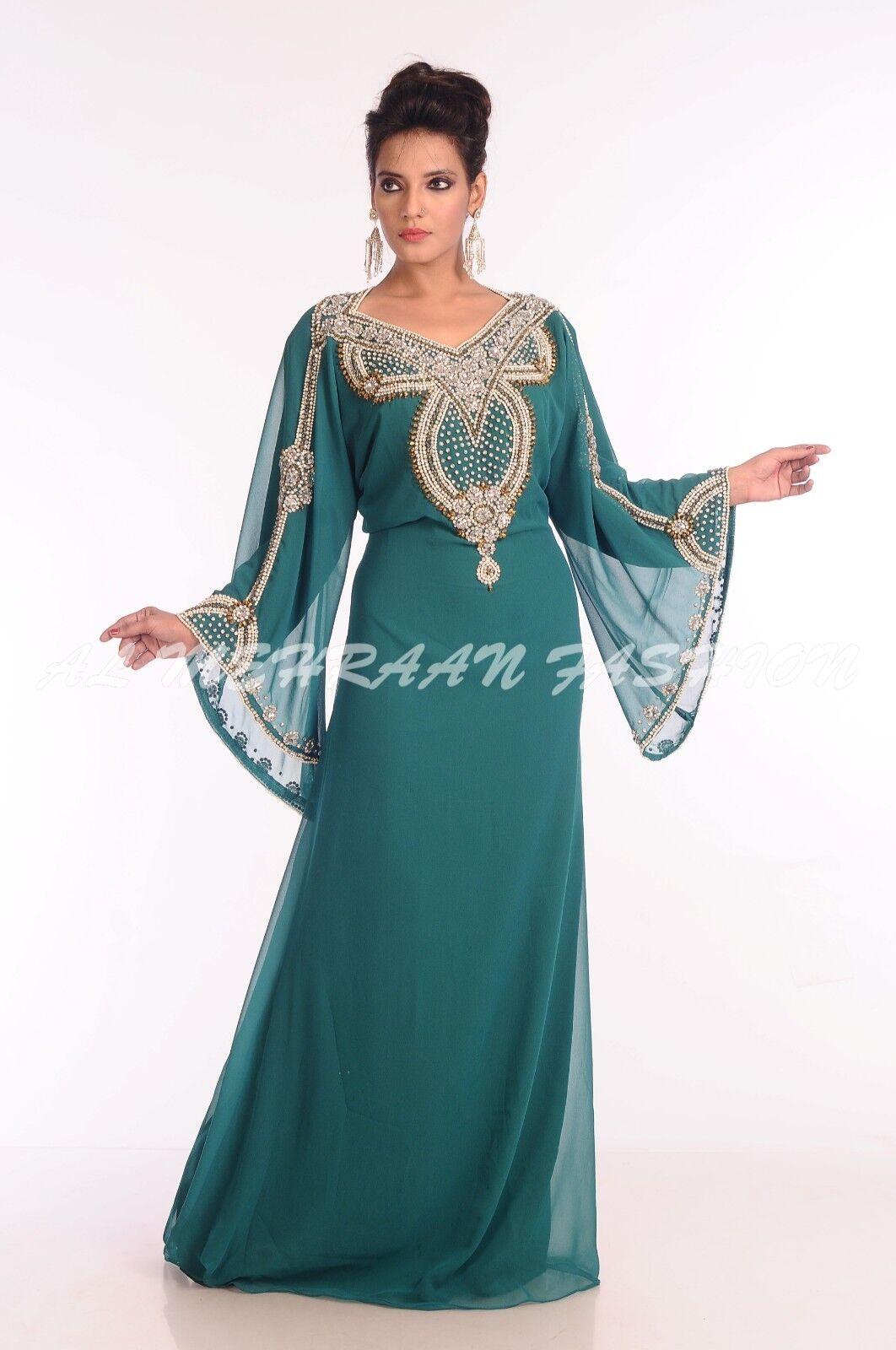 Dubai Abito da Sposa Reale Marocchino Kaftano Arabo Donna Abbigliamento Lustrini