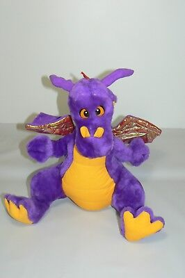 Acme Purple Dragon Plush Large 15  Stuffed Animal Iridescent Wings 1992