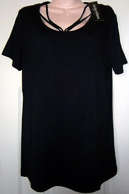 New  Wendy Williams Collection   Sexy Black Top W  Cutout Neckline Design   Med