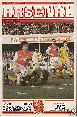 ARSENAL V MIDDLESBROUGH  FA CUP   28/2/83