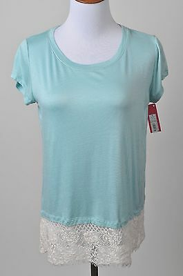 Women's Xhilaration Knit Soft Mint and Lace Top Juniors / Misses Size S New