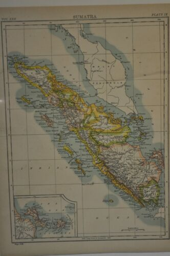 Original 1890 Map OF SUMATRA  Hand Aquatint 10 x 14