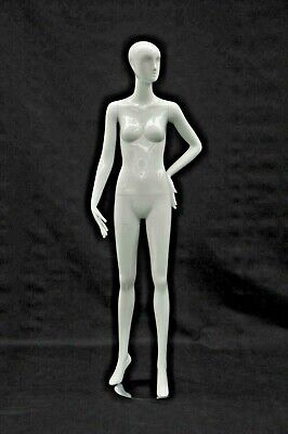 Adult Female Standing Abstract Face Glossy White Fiberglass Mannequin With Base