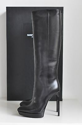 NIB Auth YSL Saint Laurent Paris Janis Platform Knee High Boots Shoes 10 us / 40