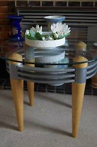 Modern Round Coffee Table, Glass Top and Timber Metal Base Brighton Bayside Area Preview