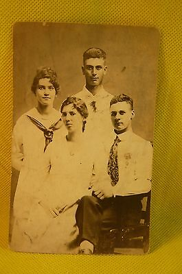 VINTAGE STUDIO PHOTO  of 4 Young People-Post Card Back-3 X 5