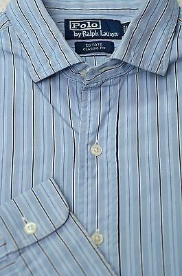 Polo Ralph Lauren Men's Estate Blue & Black Stripe Cotton Casual Shirt L Large