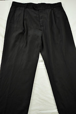 (nwt! mens George pants size 34 x 31 black pleated front four pockets polyester)